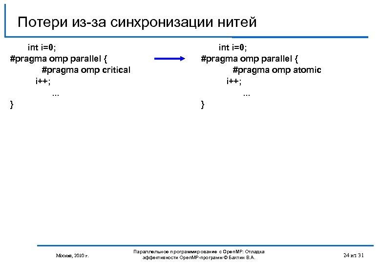 Потери из-за синхронизации нитей int i=0; #pragma omp parallel { #pragma omp critical i++;