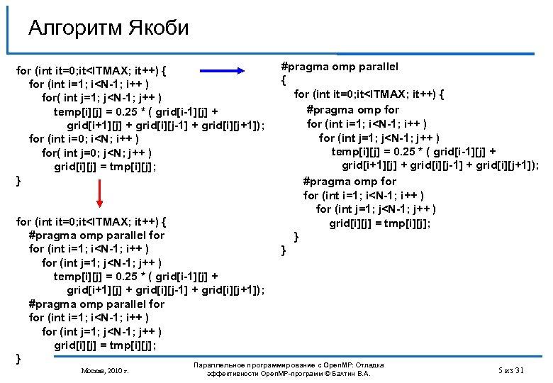 Алгоритм Якоби for (int it=0; it<ITMAX; it++) { for (int i=1; i<N-1; i++ )