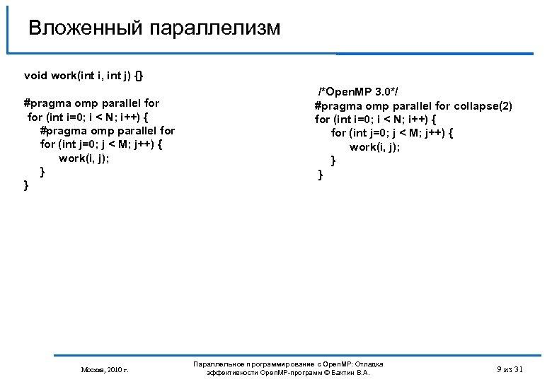 Вложенный параллелизм void work(int i, int j) {} #pragma omp parallel for (int i=0;