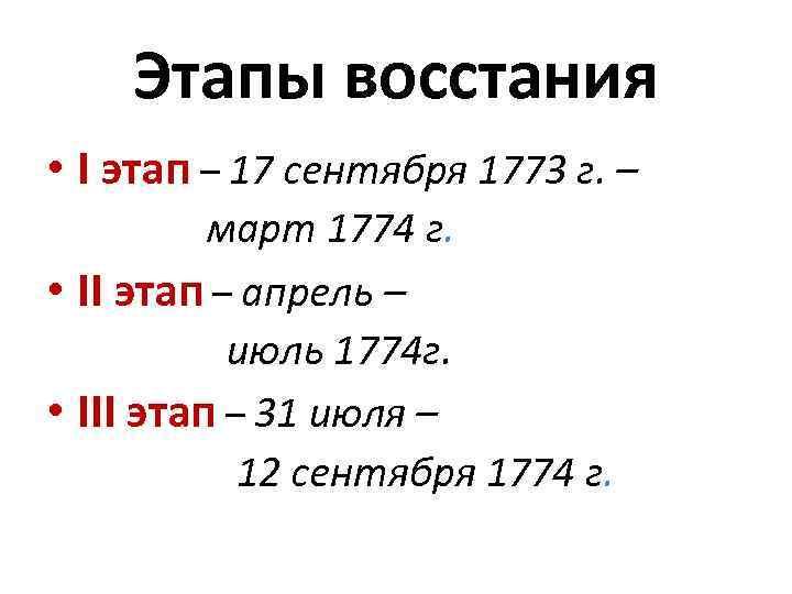 Этапы восстания • I этап – 17 сентября 1773 г. – март 1774 г.