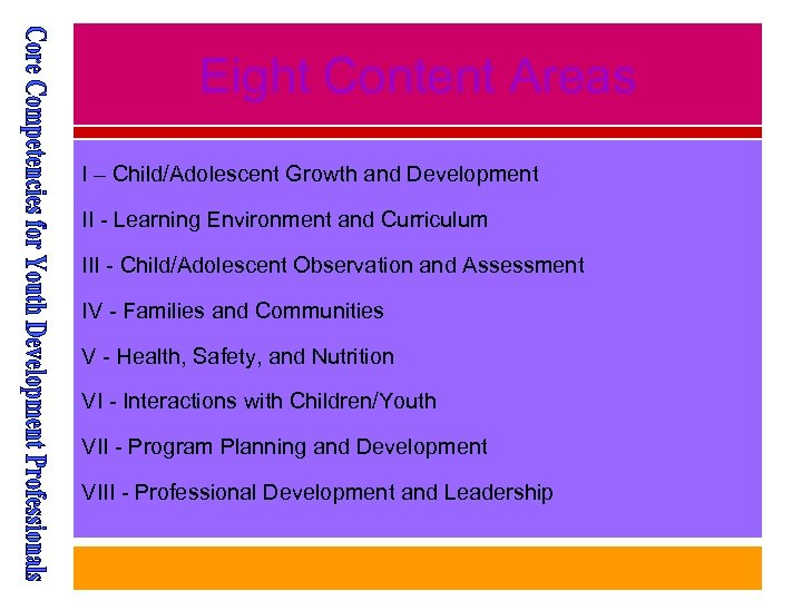 Eight Content Areas I – Child/Adolescent Growth and Development II - Learning Environment and