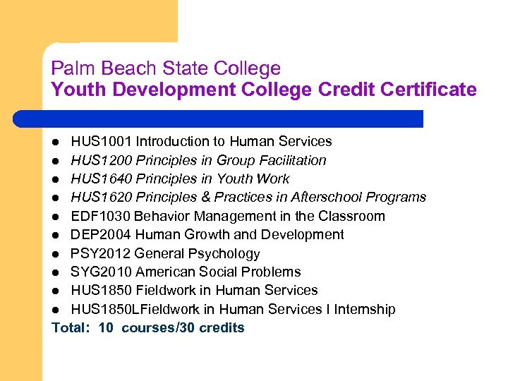 Palm Beach State College Youth Development College Credit Certificate HUS 1001 Introduction to Human