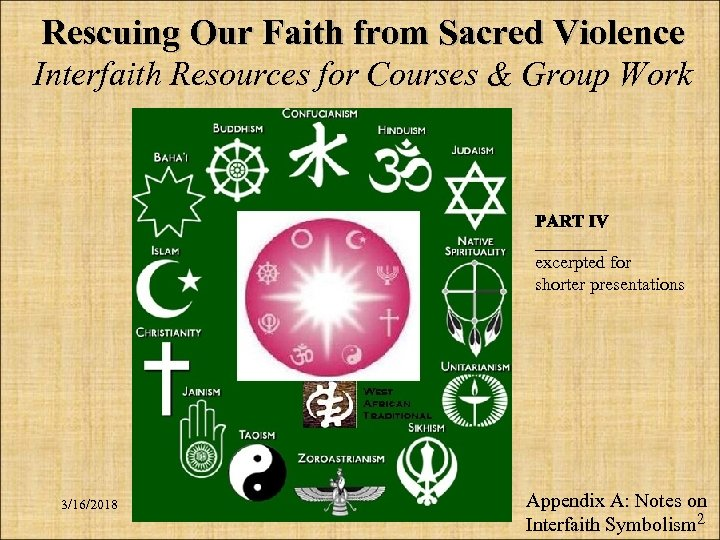Rescuing Our Faith from Sacred Violence Interfaith Resources for Courses & Group Work ____