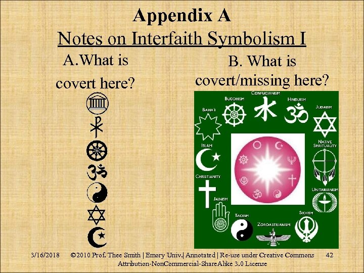 Appendix A Notes on Interfaith Symbolism I A. What is covert here? 3/16/2018 B.
