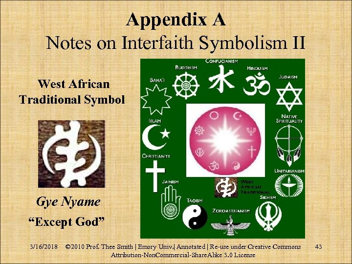 """Appendix A Notes on Interfaith Symbolism II West African Traditional Symbol Gye Nyame """"Except"""