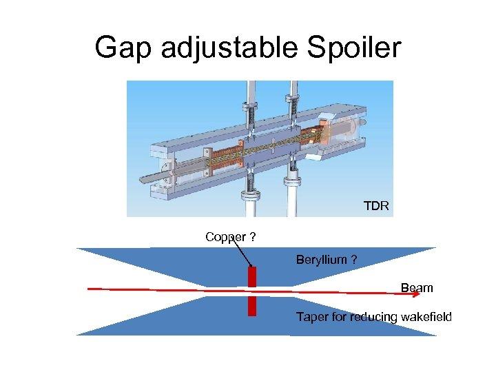 Gap adjustable Spoiler TDR Copper ? Beryllium ? Beam Taper for reducing wakefield