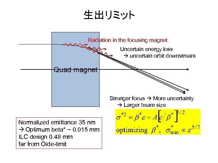 生出リミット Radiation in the focusing magnet Uncertain energy loss uncertain orbit downstream Quad magnet
