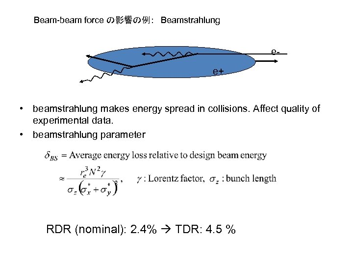 Beam-beam force の影響の例: Beamstrahlung ee+ • beamstrahlung makes energy spread in collisions. Affect quality of