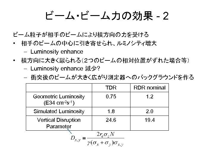 ビーム・ビーム力の効果 - 2 ビーム粒子が相手のビームにより横方向の力を受ける • 相手のビームの中心に引き寄せられ、ルミノシティ増大 – Luminosity enhance • 横方向に大きく蹴られる(2つのビームの相対位置がずれた場合等) – Luminosity enhance