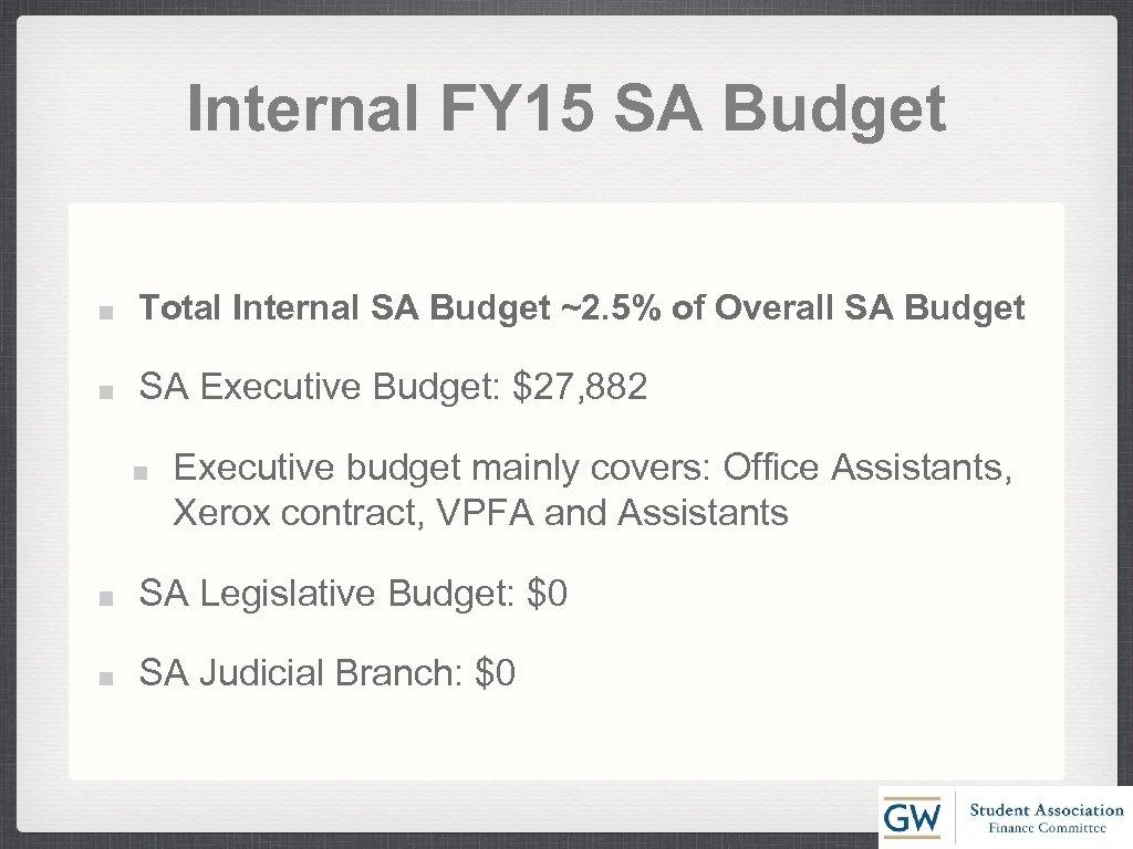 Internal FY 15 SA Budget Total Internal SA Budget ~2. 5% of Overall SA