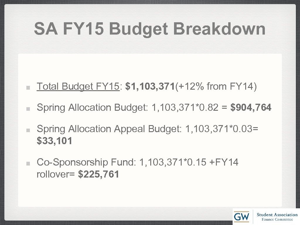 SA FY 15 Budget Breakdown Total Budget FY 15: $1, 103, 371(+12% from FY