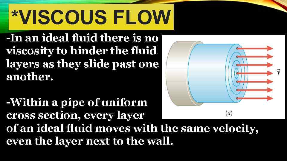 *VISCOUS FLOW -In an ideal fluid there is no viscosity to hinder the fluid