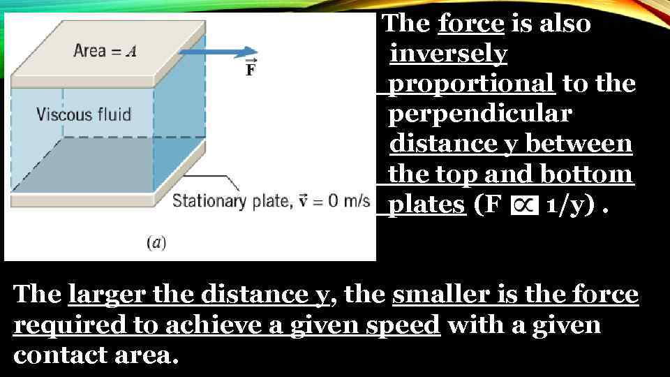 The force is also inversely proportional to the perpendicular distance y between the