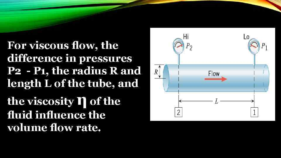For viscous flow, the difference in pressures P 2 - P 1, the radius
