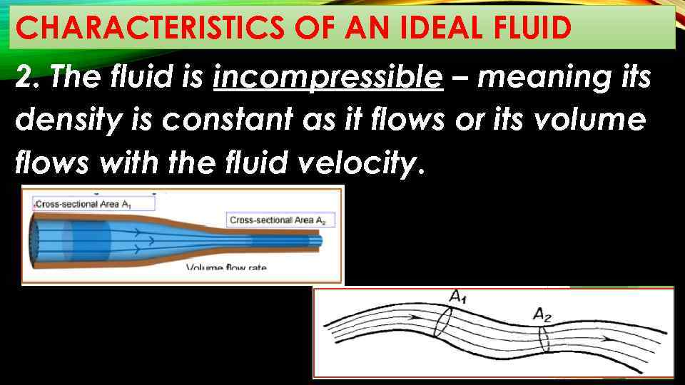 CHARACTERISTICS OF AN IDEAL FLUID 2. The fluid is incompressible – meaning its density