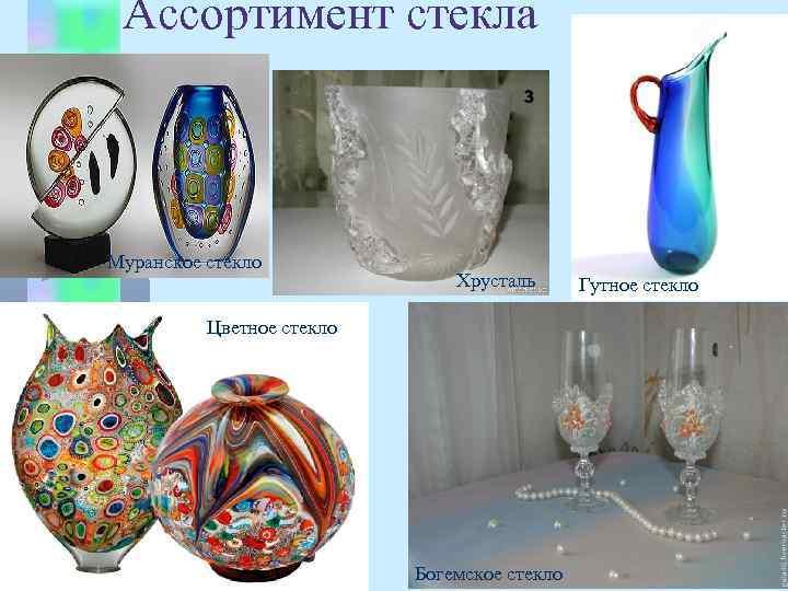 Ассортимент стекла Муранское стекло Хрусталь Цветное стекло Богемское стекло Гутное стекло