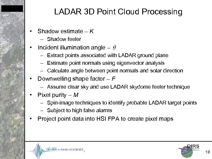 LADAR 3 D Point Cloud Processing • Shadow estimate – K – Shadow feeler