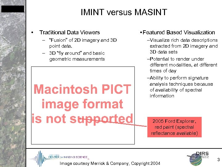 "IMINT versus MASINT • Traditional Data Viewers – ""Fusion"" of 2 D imagery and"