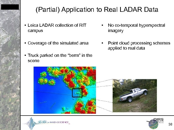 (Partial) Application to Real LADAR Data • Leica LADAR collection of RIT campus •