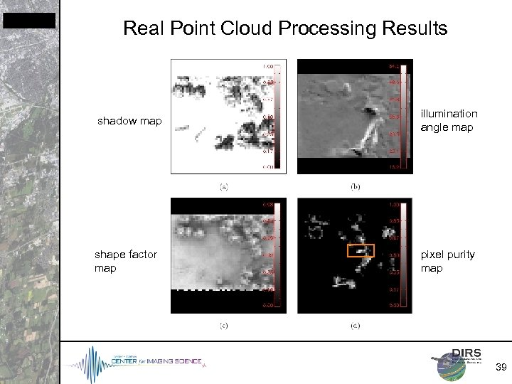 Real Point Cloud Processing Results shadow map illumination angle map shape factor map pixel
