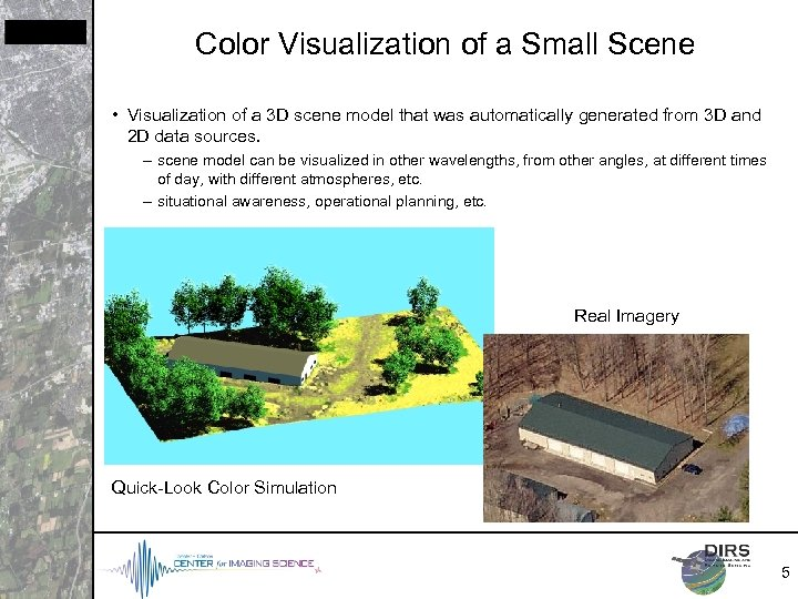 Color Visualization of a Small Scene • Visualization of a 3 D scene model