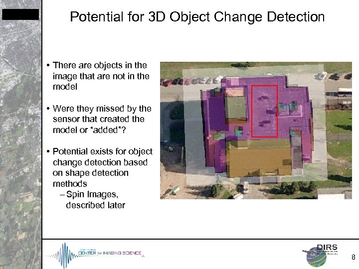 Potential for 3 D Object Change Detection • There are objects in the image