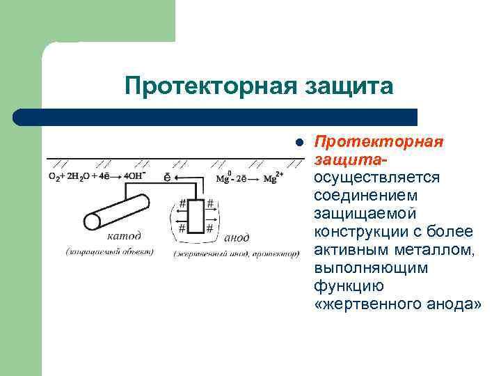 Протекторная защита l Протекторная защитаосуществляется соединением защищаемой конструкции с более активным металлом, выполняющим функцию
