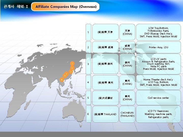 관계사 해외-Ⅰ Affiliate Companies Map (Overseas) LCM Top, Bottom, TV&Monitor Parts, DVD Blueray Deck