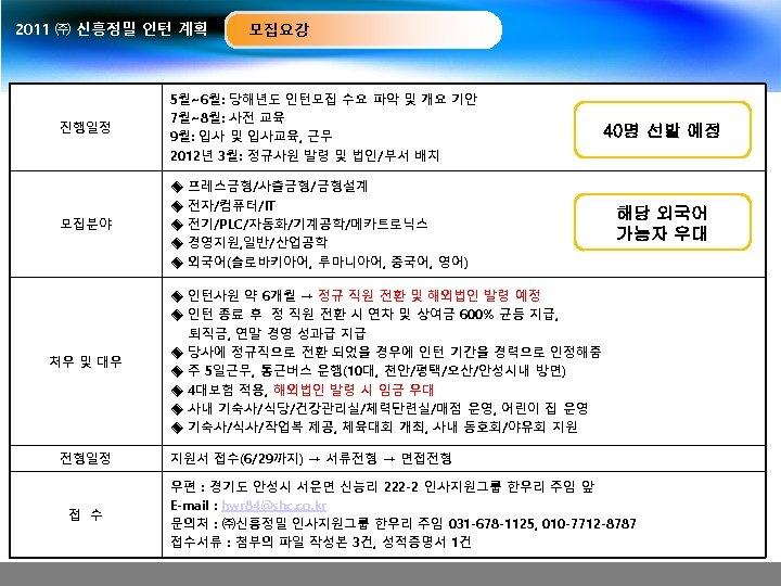 2011 ㈜ 신흥정밀 인턴 계획 모집요강 진행일정 5월~6월: 당해년도 인턴모집 수요 파악 및 개요