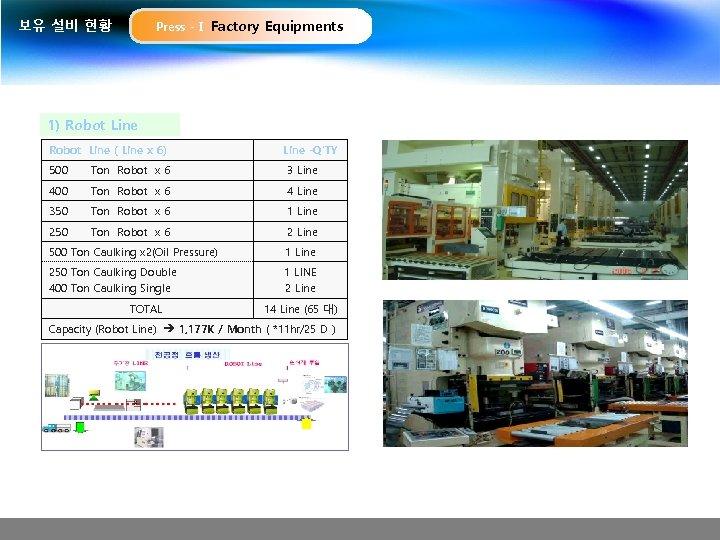 보유 설비 현황 Press -Ⅰ Factory Equipments 1) Robot Line ( Line x 6)