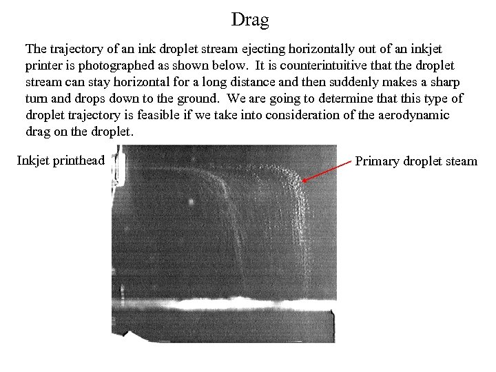 Drag The trajectory of an ink droplet stream ejecting horizontally out of an inkjet