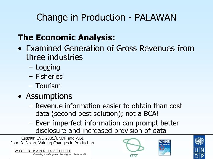 Change in Production - PALAWAN The Economic Analysis: • Examined Generation of Gross Revenues
