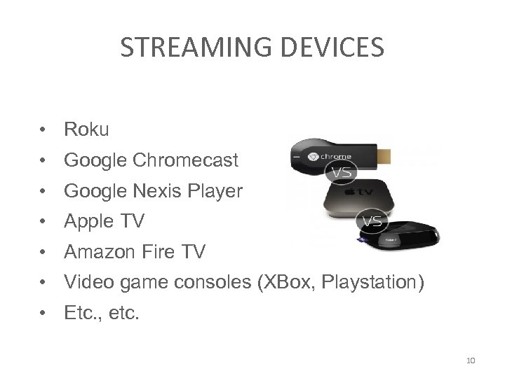 STREAMING DEVICES • Roku • Google Chromecast • Google Nexis Player • Apple TV