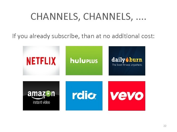 CHANNELS, . . If you already subscribe, than at no additional cost: 22