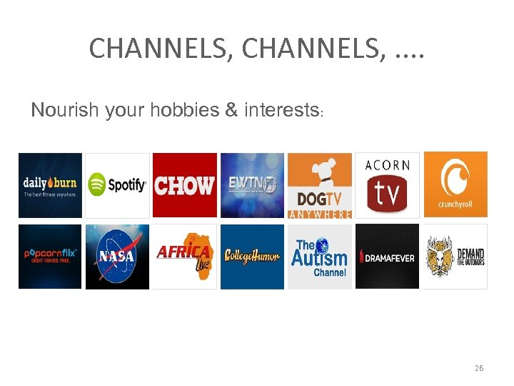CHANNELS, . . Nourish your hobbies & interests: 26