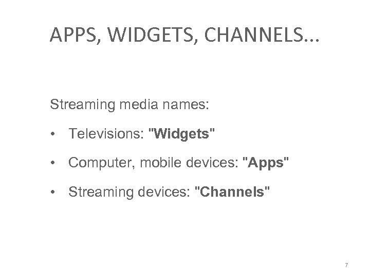 APPS, WIDGETS, CHANNELS. . . Streaming media names: • Televisions:
