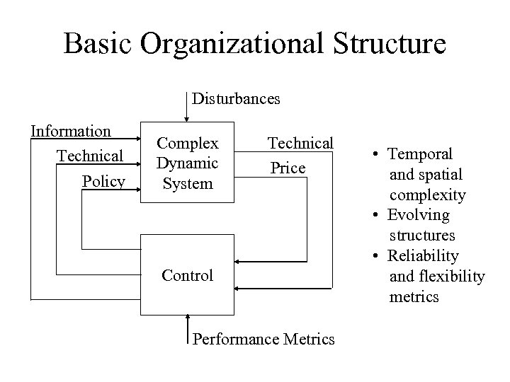 Basic Organizational Structure Disturbances Information Technical Policy Complex Dynamic System Technical Price Control Performance