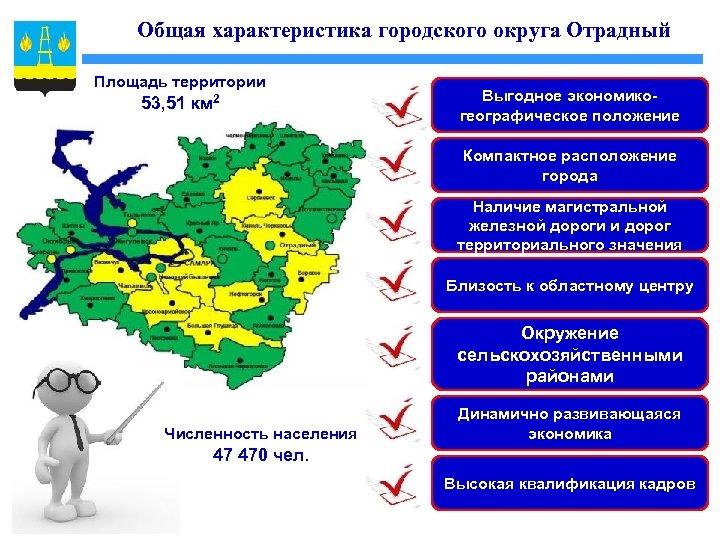 Общая характеристика городского округа Отрадный Площадь территории 53, 51 км 2 Выгодное экономикогеографическое положение