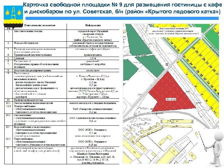 Карточка свободной площадки № 9 для размещения гостиницы с кафе и дискобаром по ул.
