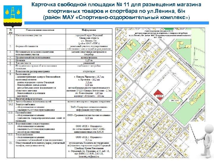 Карточка свободной площадки № 11 для размещения магазина спортивных товаров и спортбара по ул.