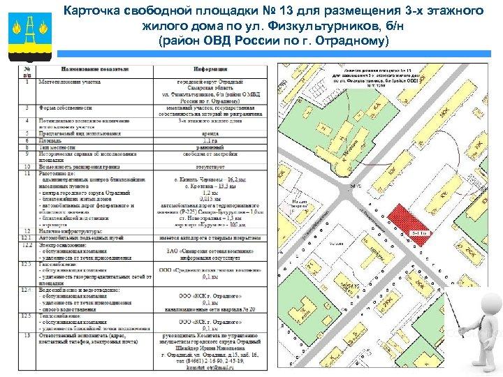 Карточка свободной площадки № 13 для размещения 3 -х этажного жилого дома по ул.