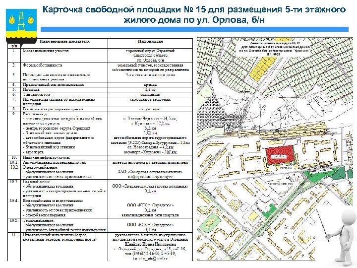 Карточка свободной площадки № 15 для размещения 5 -ти этажного жилого дома по ул.