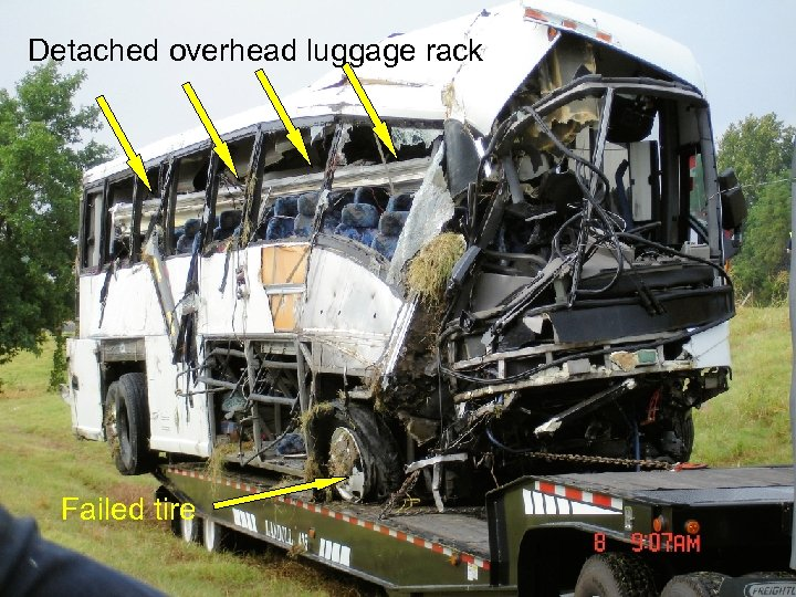 Detached overhead luggage rack Failed tire Source: NTSB