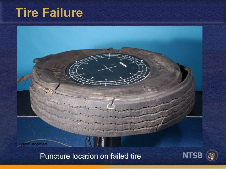Tire Failure Source: Bridgestone Puncture location on failed tire