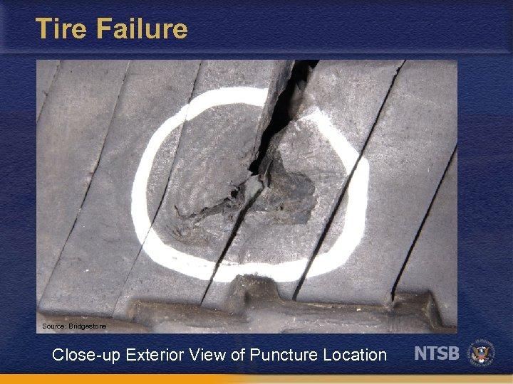 Tire Failure Source: Bridgestone Close-up Exterior View of Puncture Location