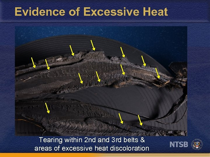 Evidence of Excessive Heat Source: Bridgestone Tearing within 2 nd and 3 rd belts