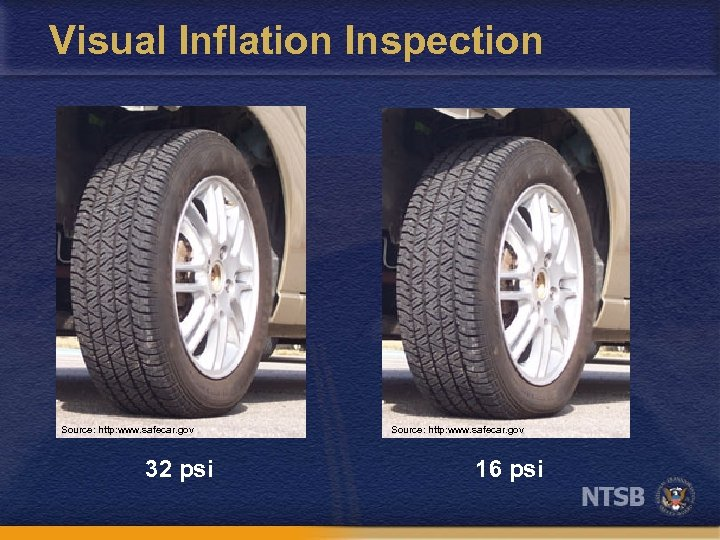 Visual Inflation Inspection Source: http: www. safecar. gov 32 psi Source: http: www. safecar.