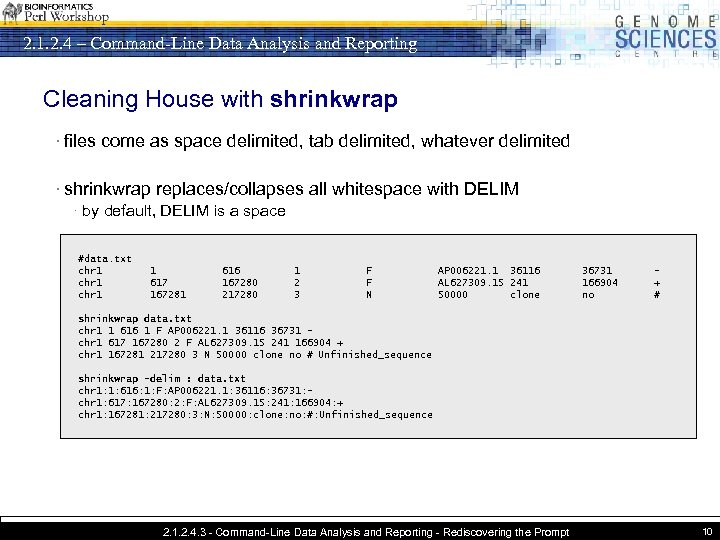2. 1. 2. 4 – Command-Line Data Analysis and Reporting Cleaning House with shrinkwrap