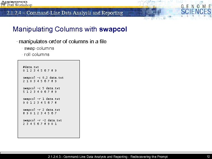 2. 1. 2. 4 – Command-Line Data Analysis and Reporting Manipulating Columns with swapcol