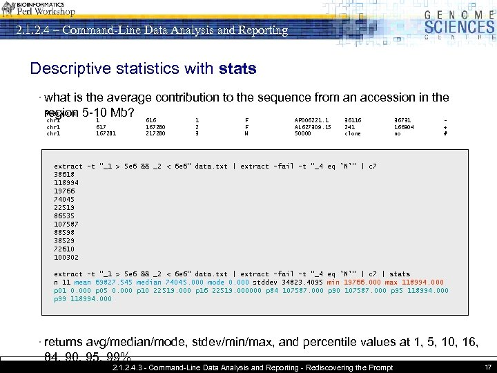 2. 1. 2. 4 – Command-Line Data Analysis and Reporting Descriptive statistics with stats